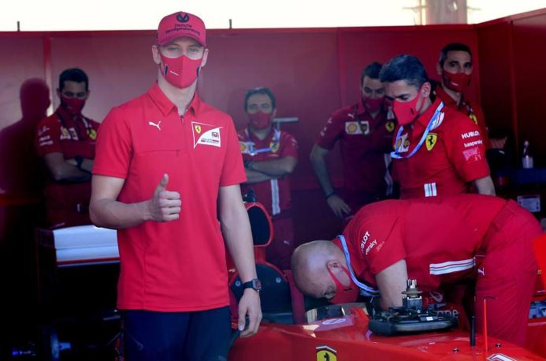 Mick Schumacher ha provato oggi al Mugello - prima del GP di Topscana - la mitica F2004, monoposto guidata dal papà Michael, 7 volte campione del mondo di F1. Foto Lapresse