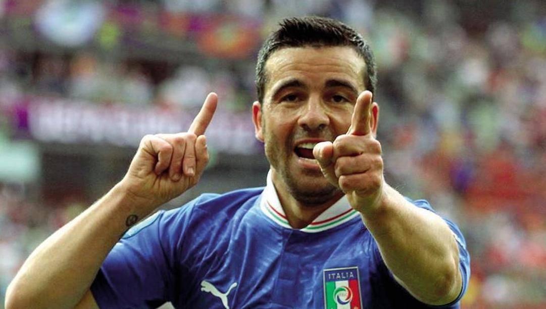 Totò Di Natale con la maglia dell'Italia