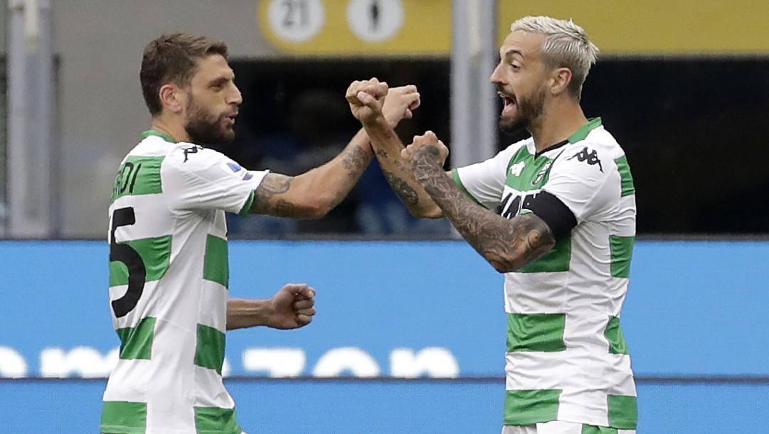 Domenico Berardi e Francesco Caputo festeggiano dopo un gol. Ap