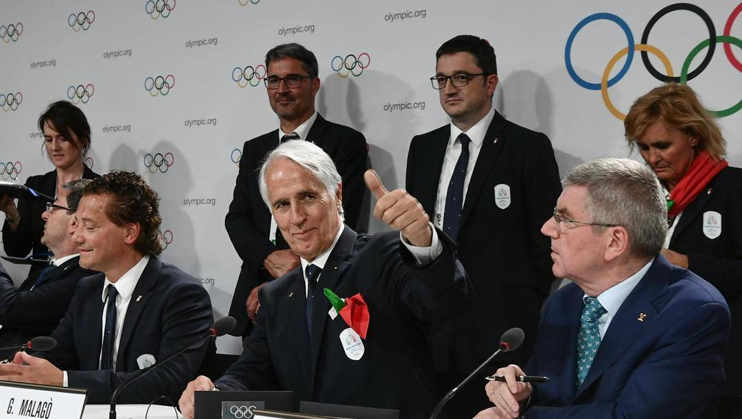Il presidente Coni, Giovanni Malagò, e il capo del Cio, Thomas Bach. Epa