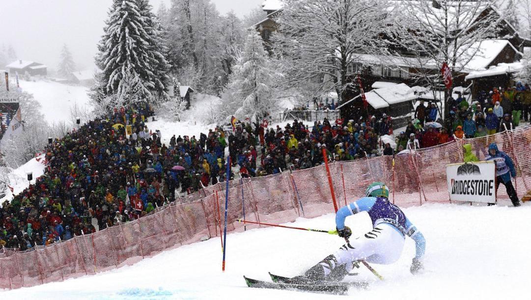 Lo slalom di Wengen. Epa