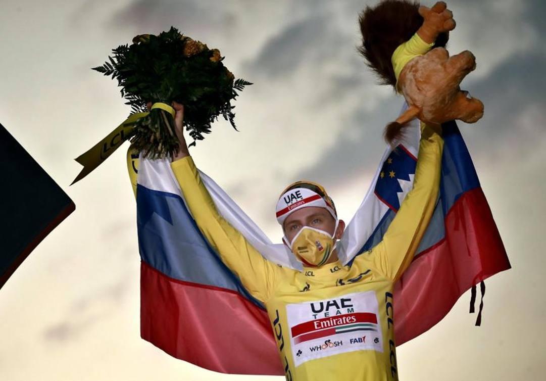 Tadej Pogacar, 22 anni, vincitore del Tour 2020. Epa