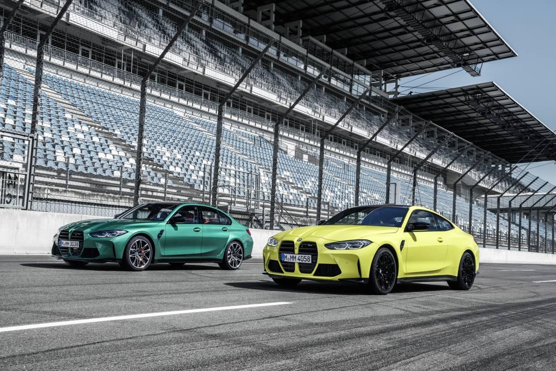 Le nuove Bmw M3 in verde e M4 in giallo