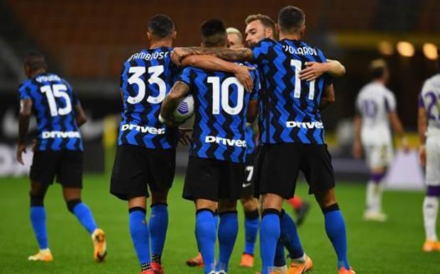 L'Inter festeggia l'1-0. Getty