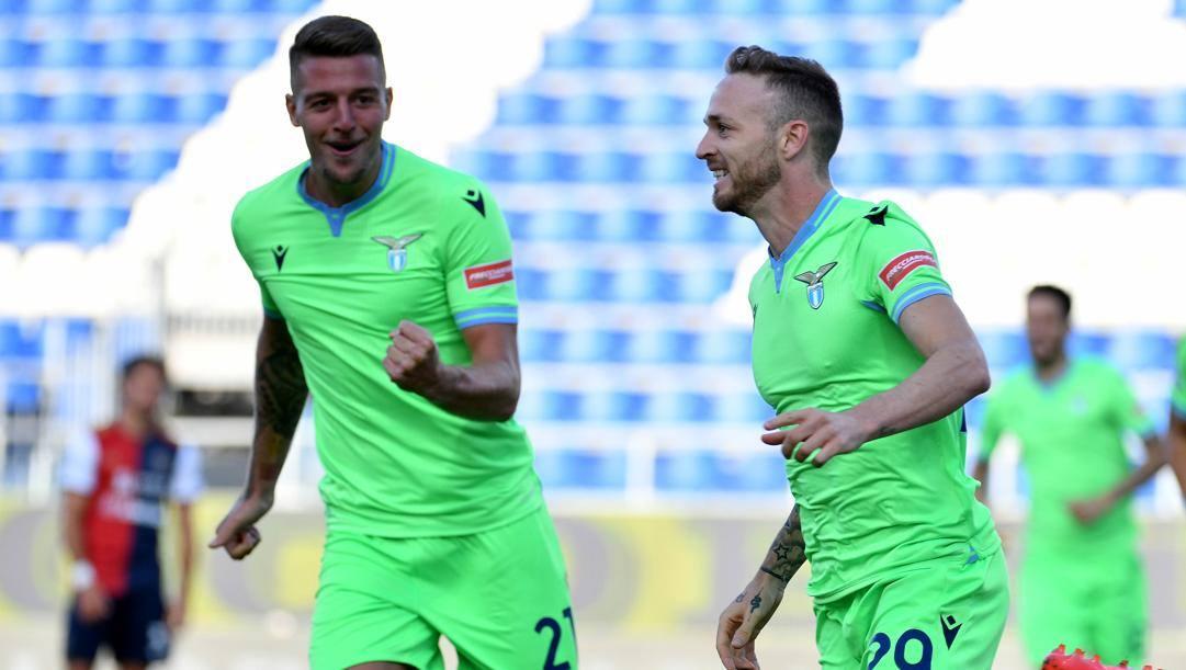 Lazzari festeggia il gol dell'1-0. Getty