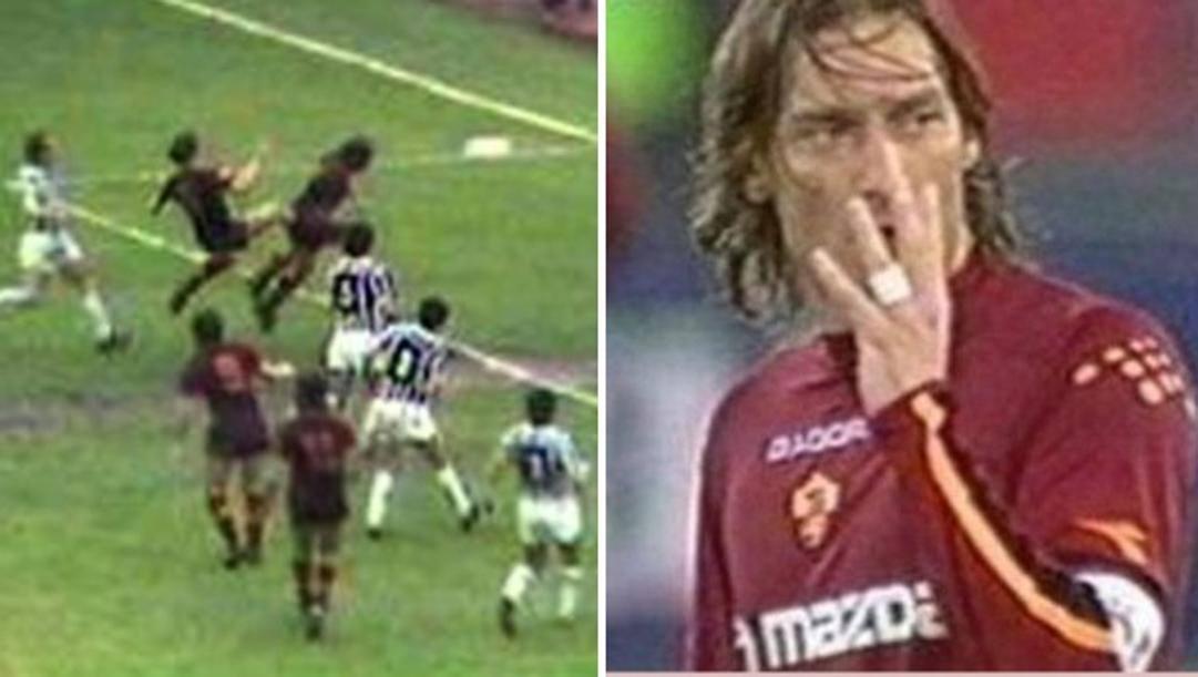 Da sinistra il gol di Turone e Francesco Totti che mostra le quattro dita