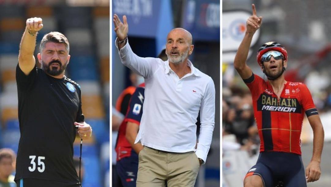 Rino Gattuso, Stefano Pioli e Vincenzo Nibali
