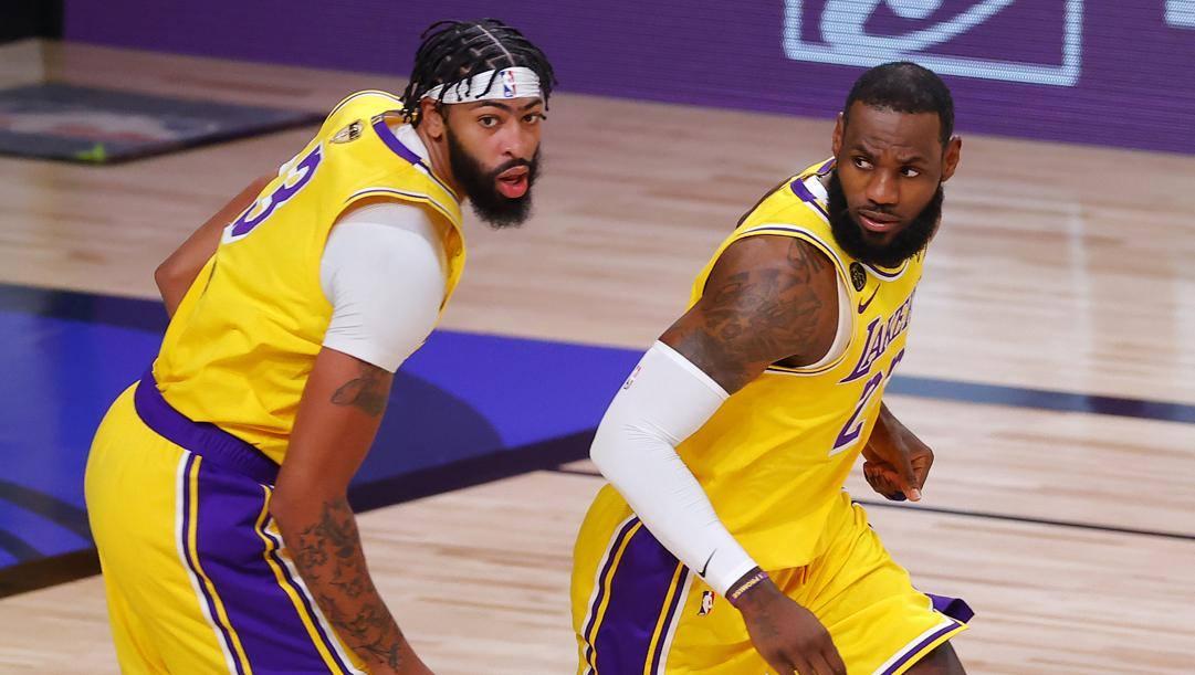 Anthony Davis, 27 anni, e LeBron James, 35. Afp