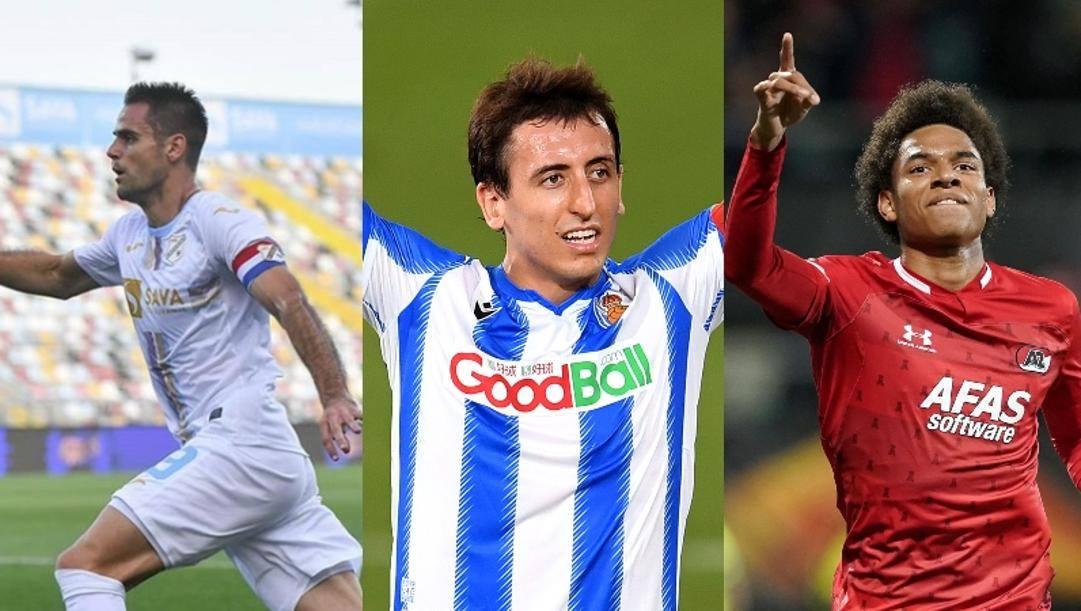 Da sinistra a desta Andrijasevic (Rijeka), Oyarzabal (Real Sociedad) e Calvin Stengs (AZ Alkmaar)