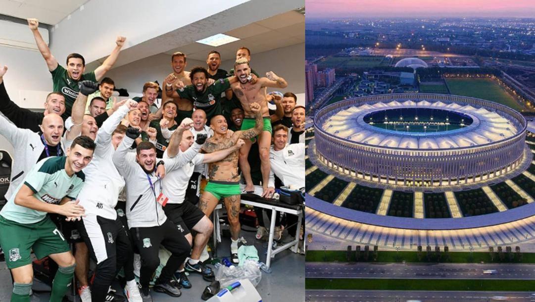 Il Krasnodar festeggia l'accesso ai gironi. Getty