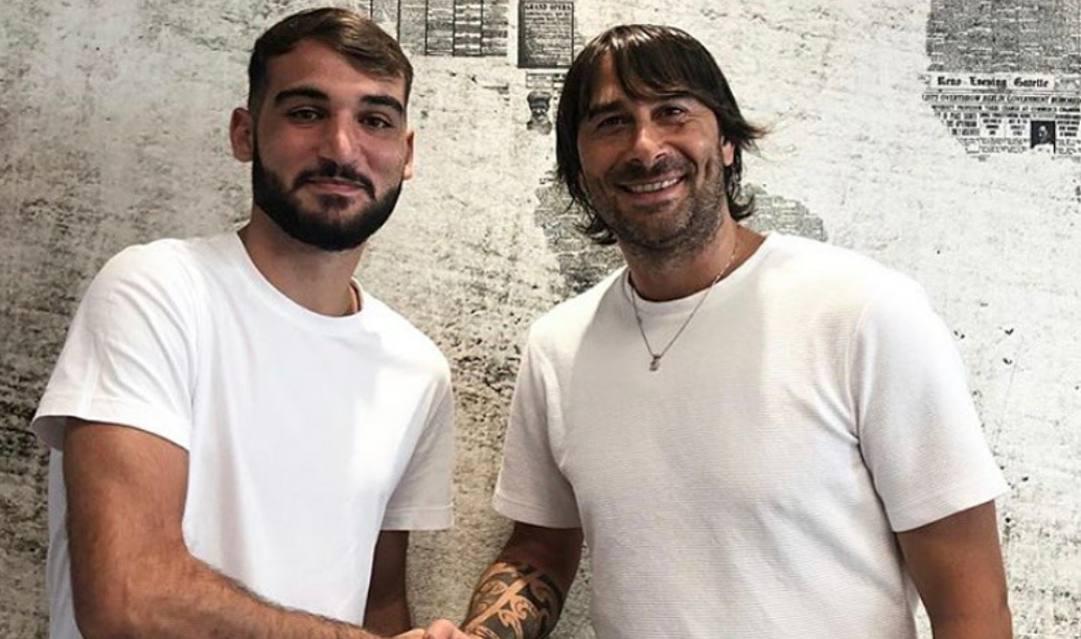 Riccardo Ladinetti (a sinistra) con il suo idolo Daniele Conti