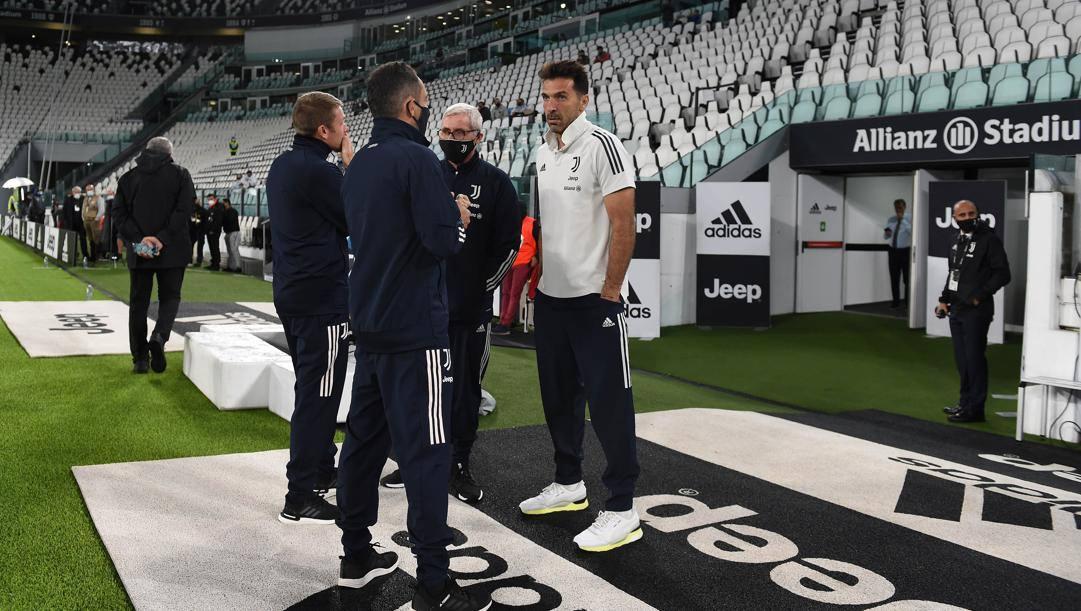 Buffon all'Allianz Stadium nel giorno della mancata sfida contro il Napoli. Getty
