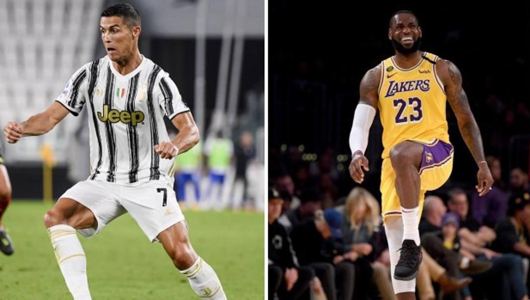 Cristiano Ronaldo e LeBron James, entrambi 35enni, stelle di Juve e Lakers. Afp-Lapresse