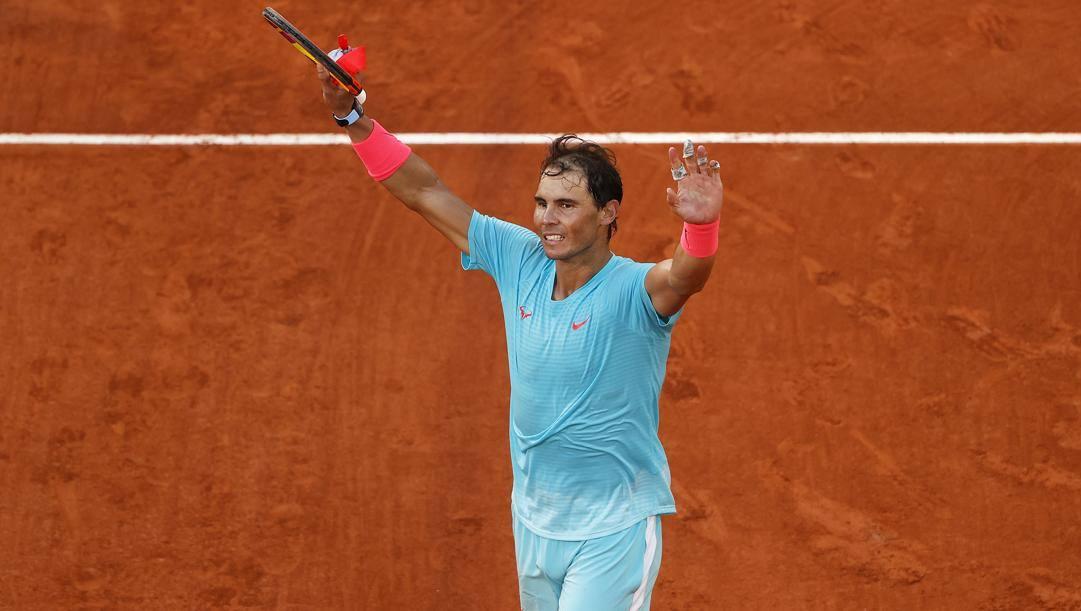 Nadal festeggia il raggiungimento della finale al Roland Garros. GETTY