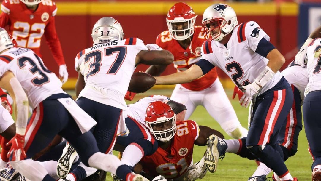 Un'immagine della sfida tra Chiefs e Patriots di lunedì scorso. Afp