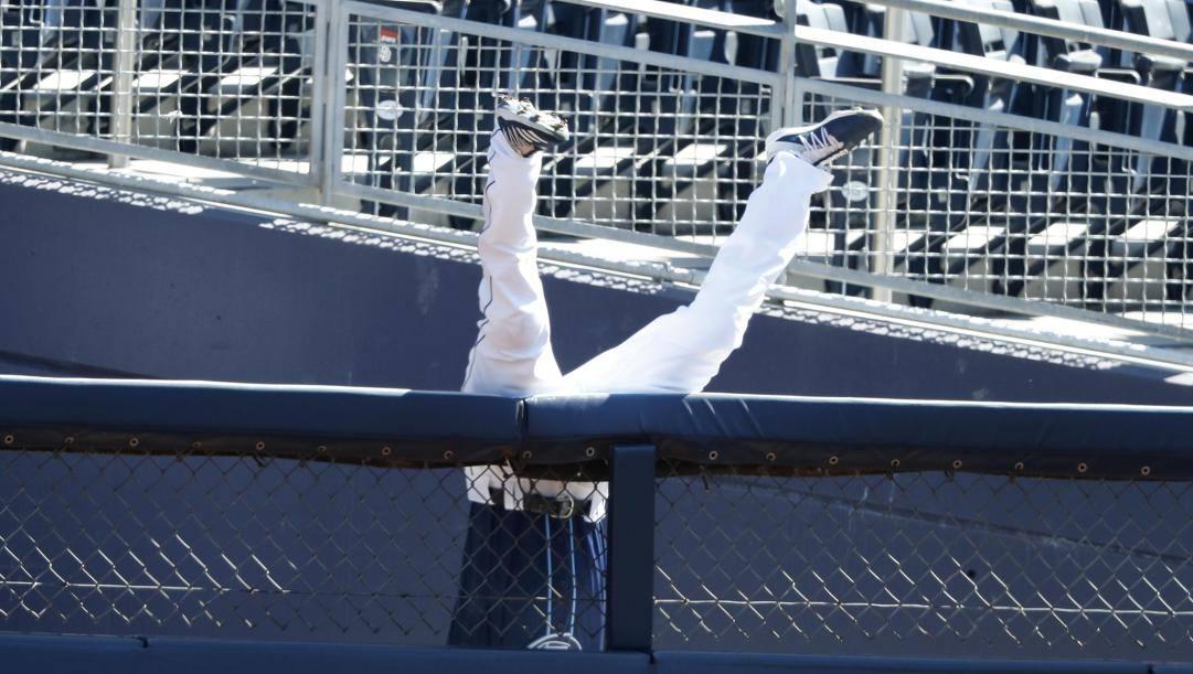 L'incredibile tuffo oltre la recinzione dell'esterno destro di Tampa, Manuel Margot: ha evitato il fuoricampo di George Springer. Epa