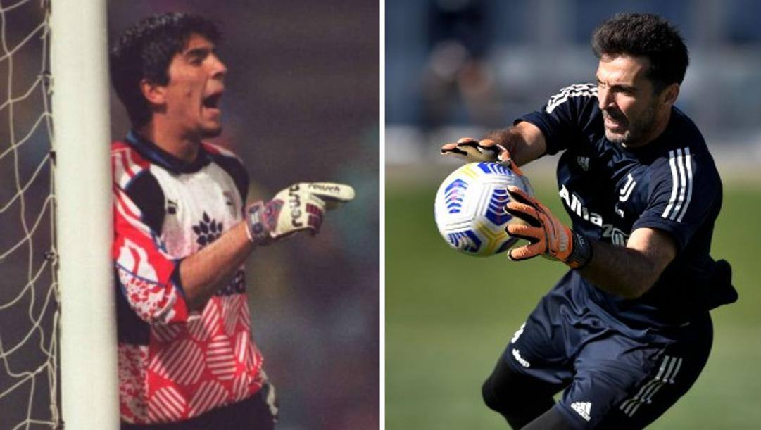 A sinistra Buffon all'esordio in A nel Parma nel 1995, a destra Gigi oggi