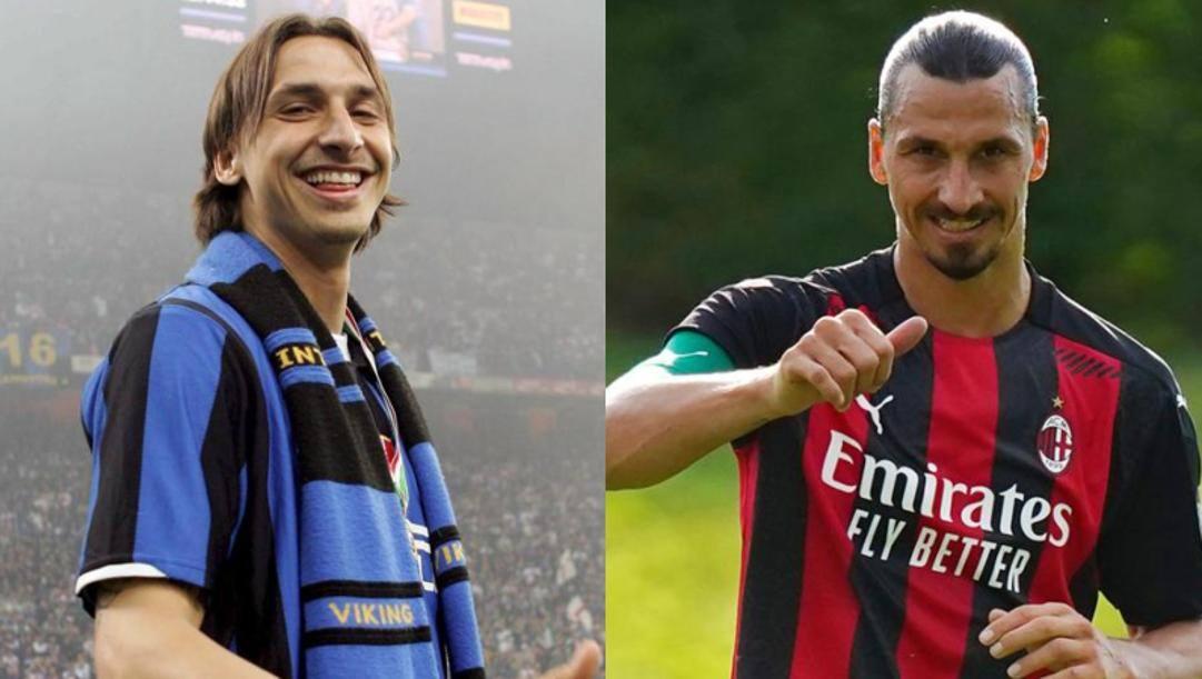 Ibra con l'Inter e con il Milan. Getty