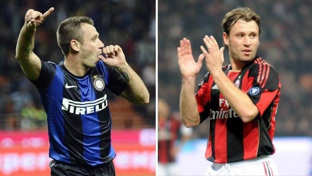 Antonio Cassano con le maglie di Inter e Milan