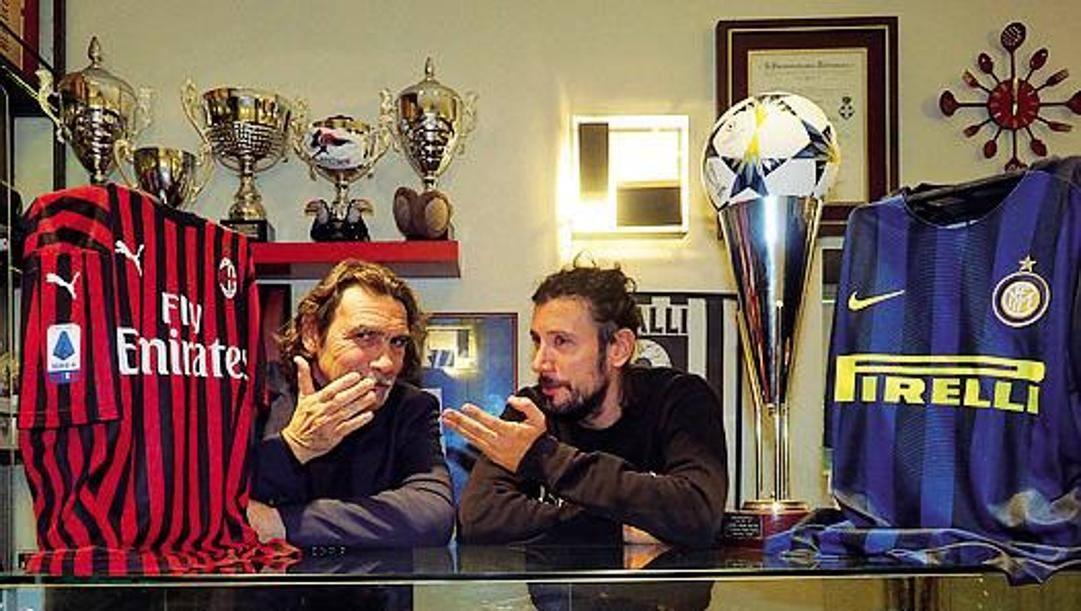 Sergio Donati nel suo locale con l'ex rossonero Cristian Zaccardo. Bozzani