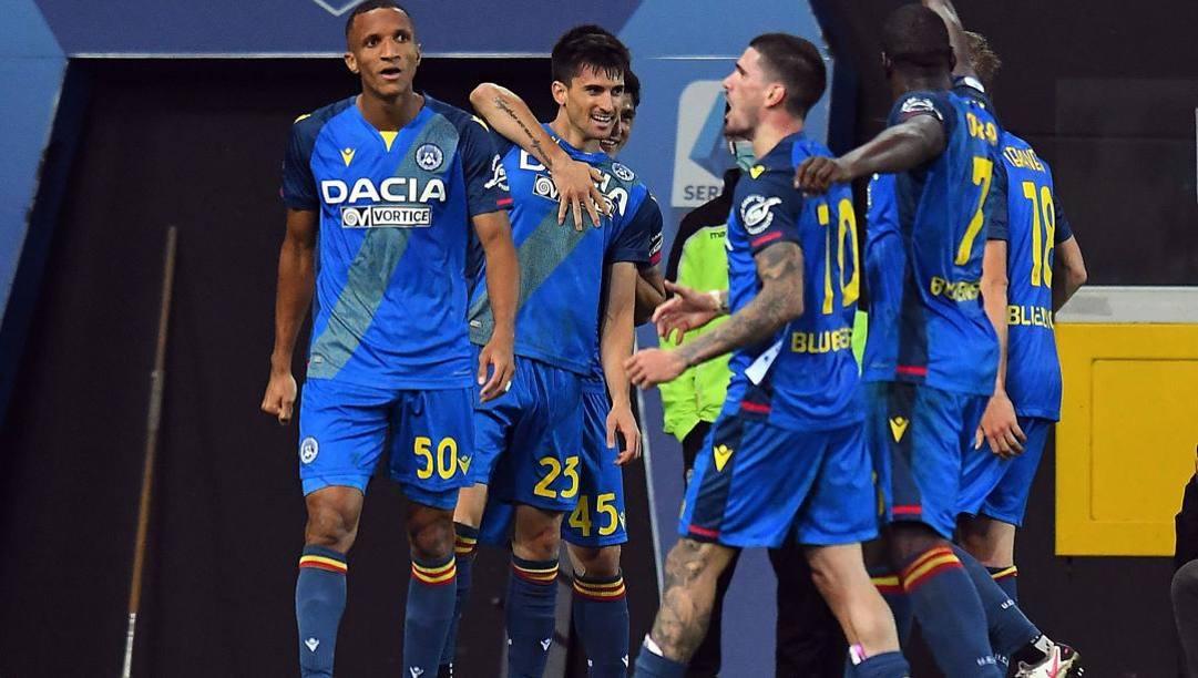L'Udinese festeggia. GETTY