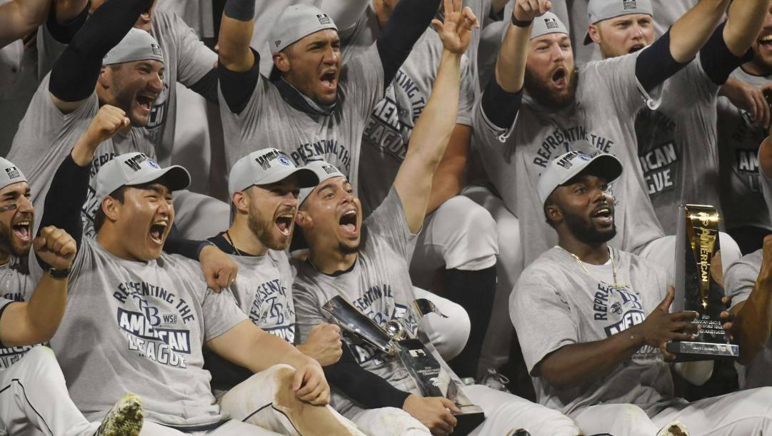 La festa di Tampa, campione dell'American League. Afp