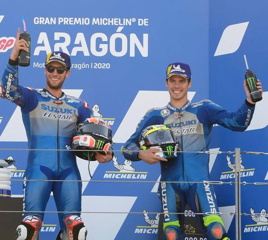 Alex Rins e Joan Mir, Suzuki felix a Aragon. AFP