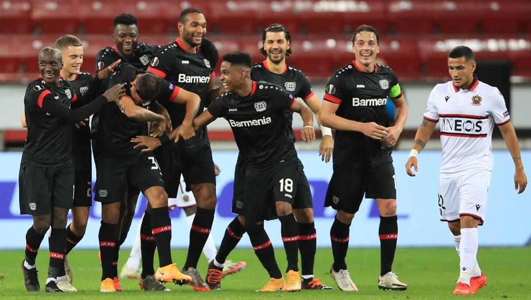 Il Bayer Leverkusen festeggia. GETTY