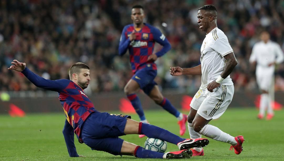L'ultimo 'Clasico' si è giocato a Madrid a marzo: vittoria del Real per 2-0. Lapresse