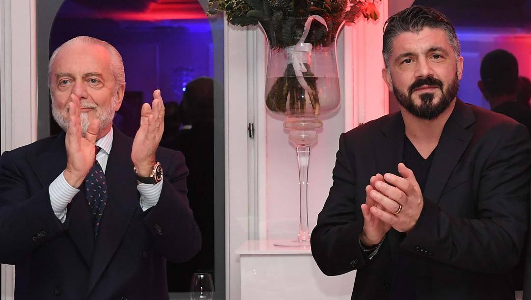 Aurelio De Laurentiis e Gennaro Gattuso. Getty Images