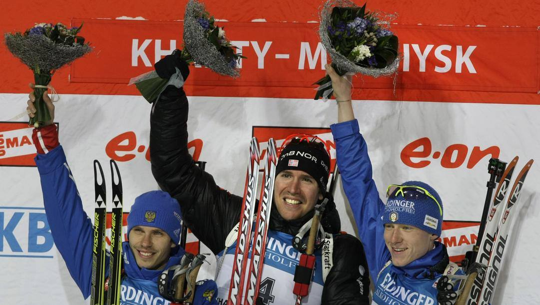 Da sinistra Evgeny Ustiugov, il norvegese Emil Svendsen e l'azzurro Lukas Hofer. Ap
