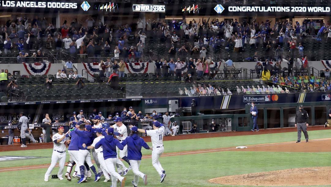 L'esultanza dei Dodgers. Afp