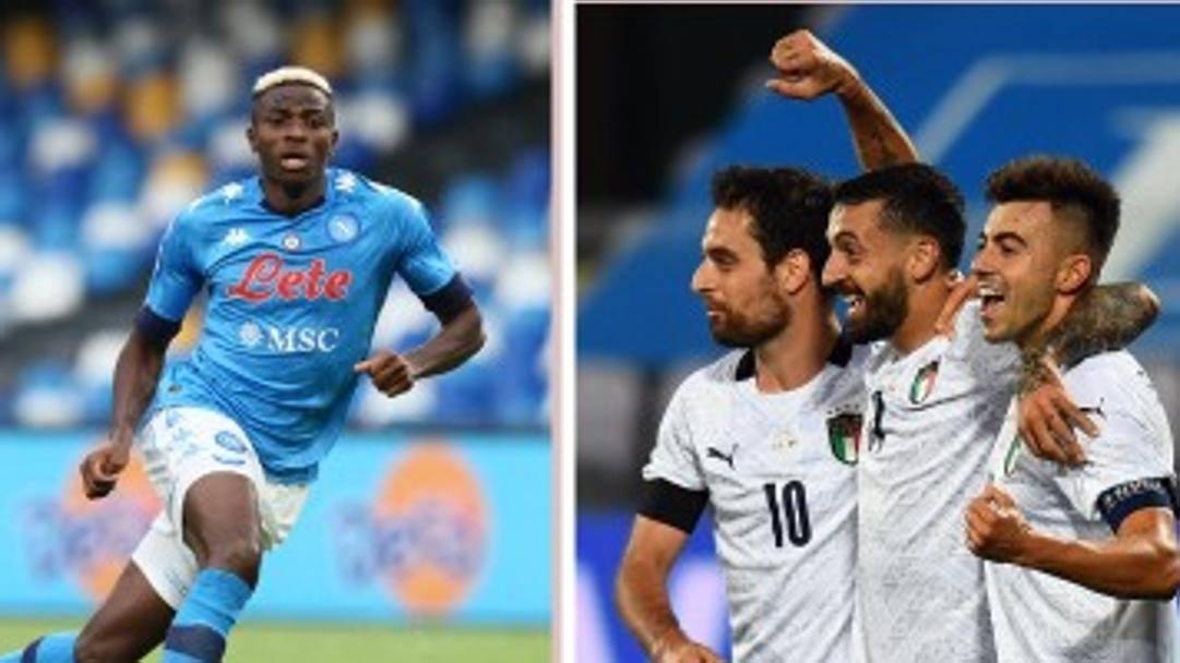 Victor Osimhen e Ciccio Caputo, oggi rivali in Napoli-Sassuolo