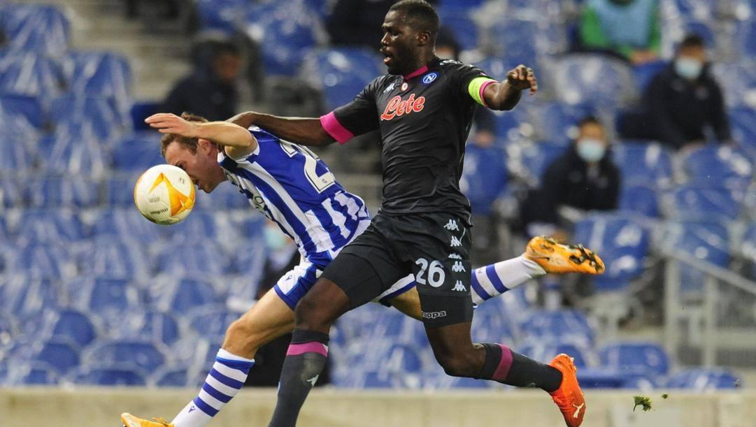 Kailodou Koulibaly contro la Real Sociedad. Ap
