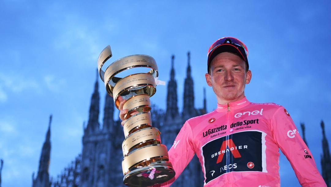 Tao Hart in Piazza Duomo dopo l'ultima tappa del Giro d'Italia