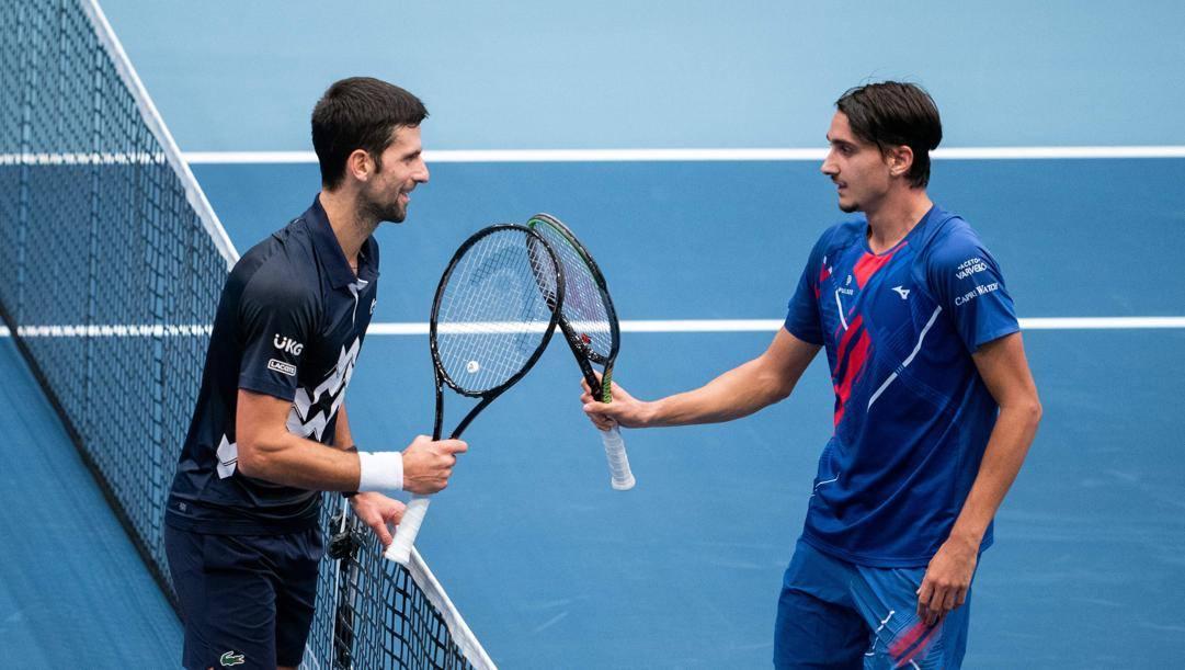 Il saluto a fine match tra Djokovic e Sonego AFP
