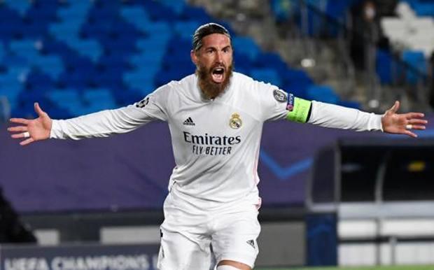 Sergio Ramos, 34 ani, di Camas, ieri al gol n.100 col Real