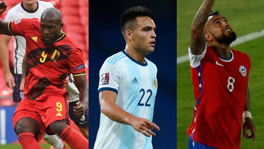 Romelu Lukaku, Lautaro Martinez e Arturo Vidal con le rispettive nazionali