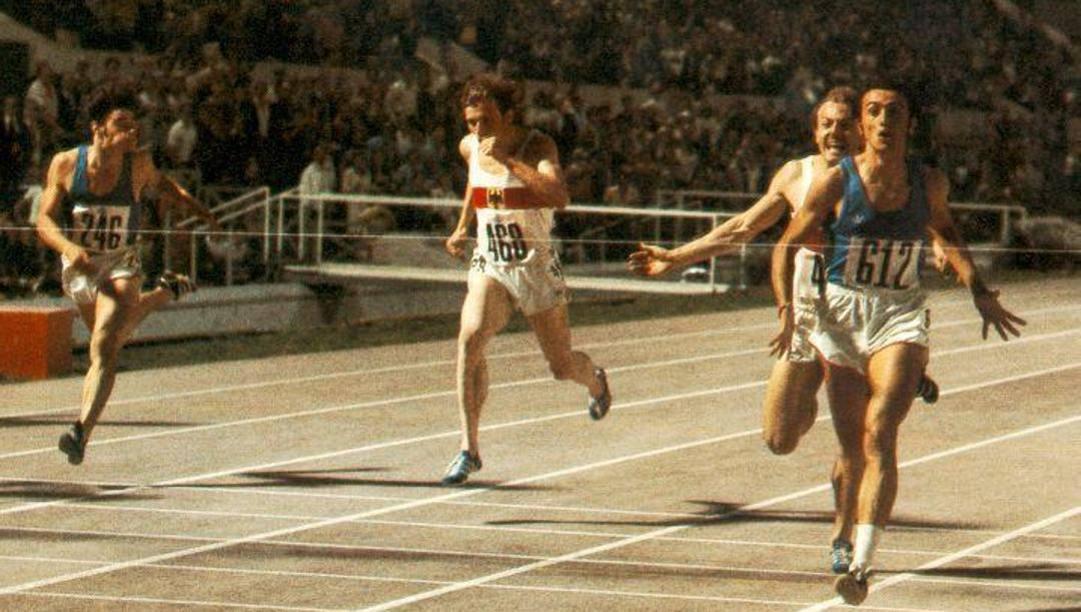 La vittoria di Mennea agli Europei del 1974. Ansa