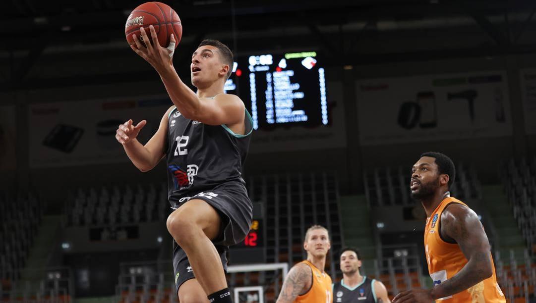 Giordano Bortolani, 19 anni, 12 punti contro Ulm ANSA