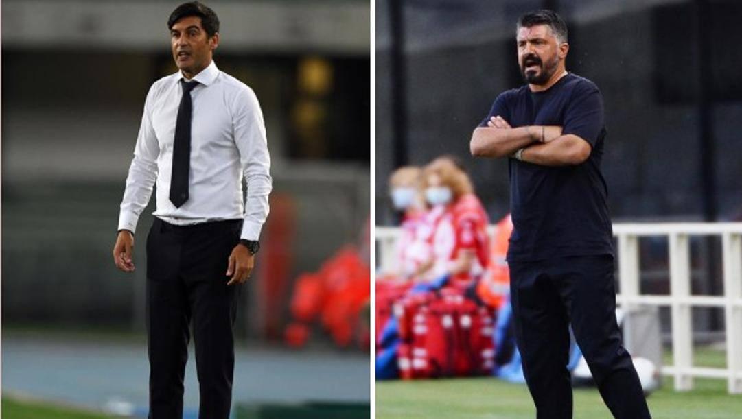 Paulo Fonseca (a sinistra) e Rino Gattuso, tecnici di Roma e Napoli. Getty