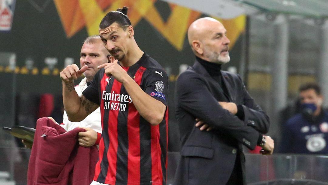 Zlatan Ibrahimovic con Stefano Pioli. Ansa