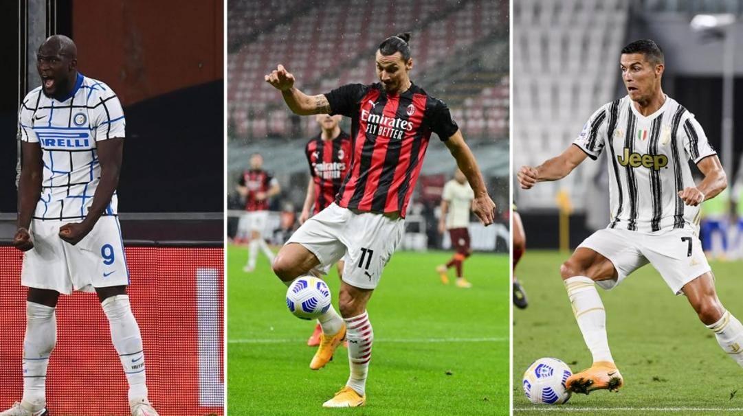 Romelu Lukaku, Zlatan Ibrahimovic e Cristiano Ronaldo. Lapresse/Getty