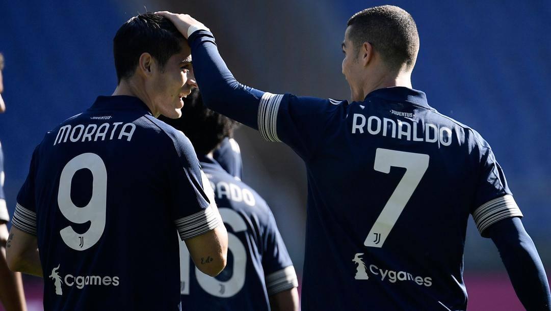 Alvaro Morata e Cristiano Ronaldo. Afp
