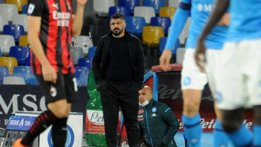 Rino Gattuso, allenatore del Napoli, durante la sfida col Milan. Ansa