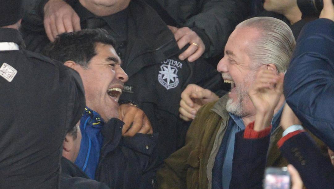 Diego Armando Maradona e Aurelio De Laurentiis. Ansa