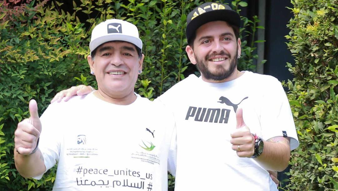 Maradona e Diego junior. Lapresse