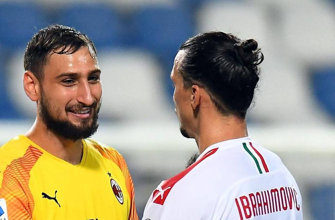 Gigio Donnarumma e Zlatan Ibrahimovic. Getty