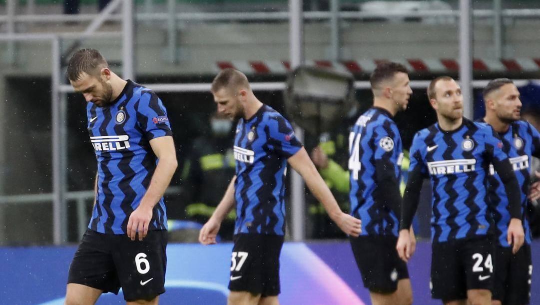 La delusione dell'Inter dopo l'eliminazione in Champions. Ap