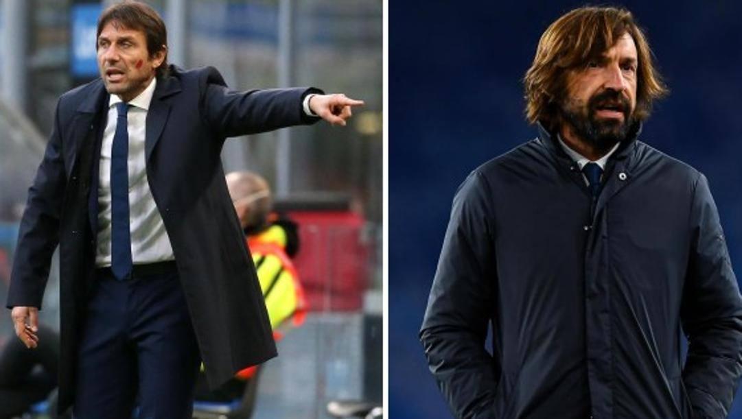 Antonio Conte e Andrea Pirlo, tecnici di Inter e Juventus. Lapresse
